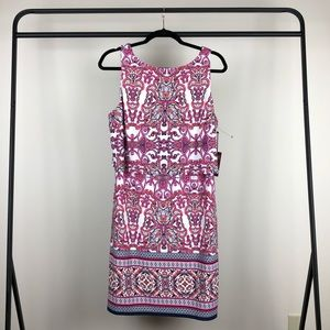 Vince Camuto tiered dress Pink scarf print 14